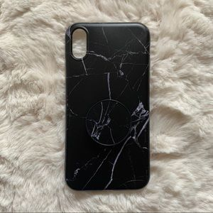 New Black iPhone XR Marble Case with Popsocket